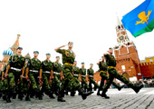 Russian paratroopers march at the Red Square as they celebrate their forces' annual holiday in Moscow